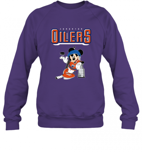 v2qw mickey edmonton oilers with the stanley cup hockey nhl shirt sweatshirt 35 front purple