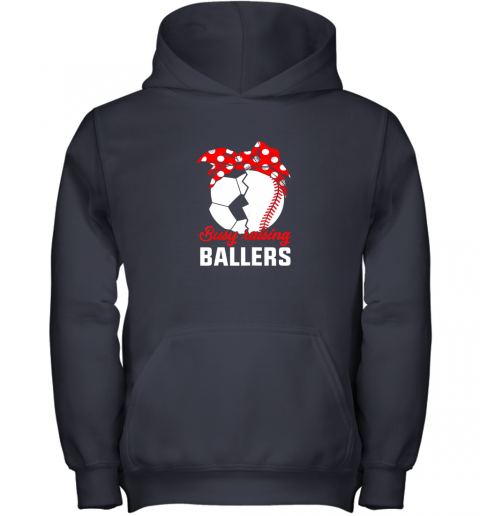 cwlg busy raising a ballerfunny baseball soccer mom youth hoodie 43 front navy