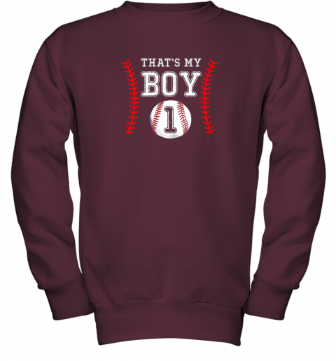 a3xr that39 s my boy baseball 1 year old dad mom youth sweatshirt 47 front maroon