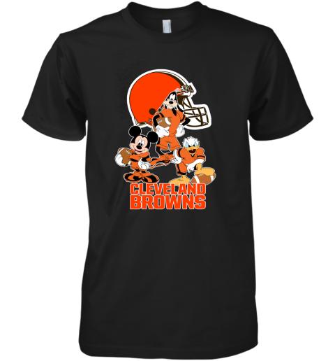 guzu mickey donald goofy the three cleveland browns football premium guys tee 5 front black