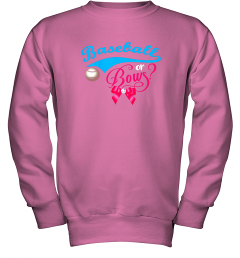luzl cute baseball or bows gender reveal party youth sweatshirt 47 front safety pink