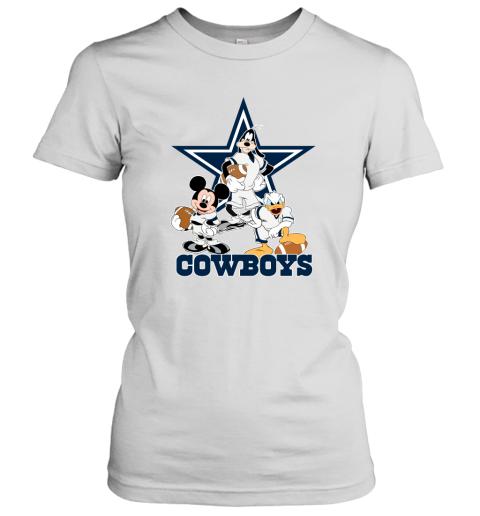 Mickey Donald Goofy The Three Dallas Cowboys Football Women's T-Shirt