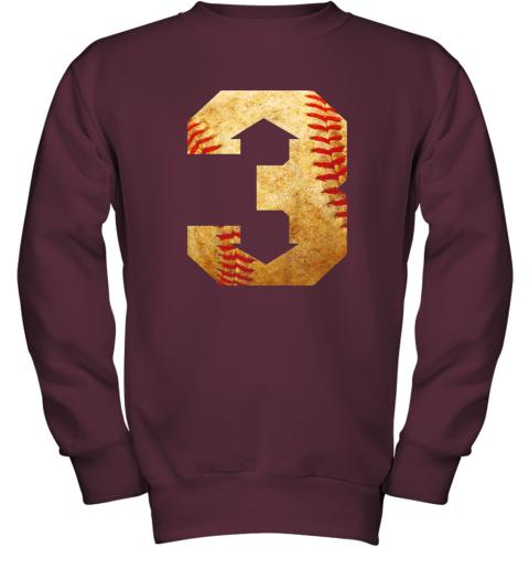 qrkl three up three down baseball 3 up 3 down youth sweatshirt 47 front maroon