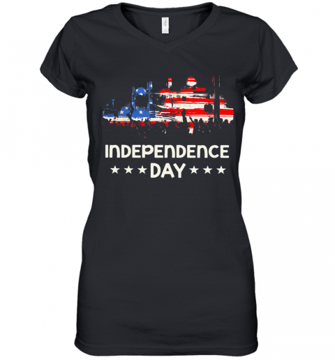 American Flag Independence Day Stars Women's V-Neck T-Shirt