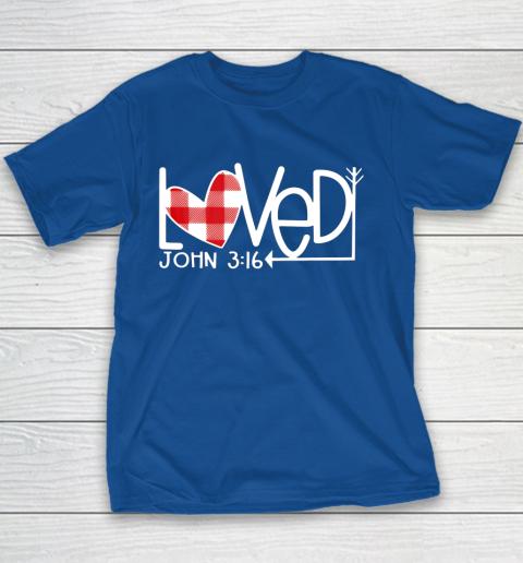 John 3 16 Loved Valentine Heart Youth T-Shirt 6