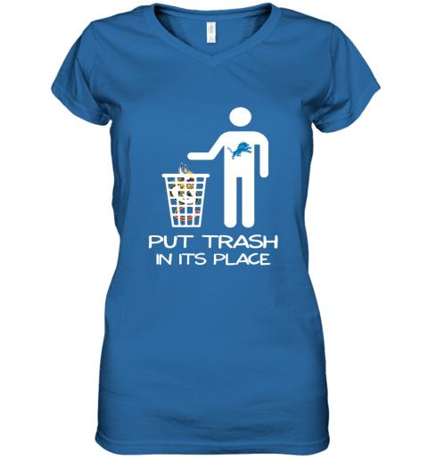Detroit Lions Put Trash In Its Place Funny NFL Women's V-Neck T-Shirt