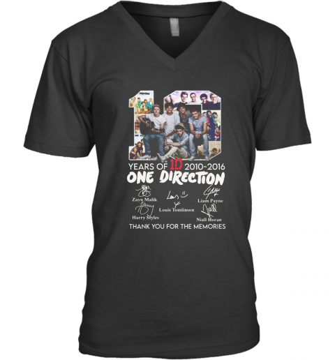 10 Years Of 1D 2010 2016 One Direction Thank You For The Memories Signatures V-Neck T-Shirt