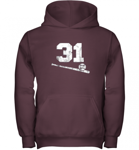 5nmw vintage baseball jersey number 31 shirt player number youth hoodie 43 front maroon