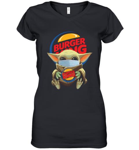 Baby Yoda Face Mask Hug Burger King Women's V-Neck T-Shirt