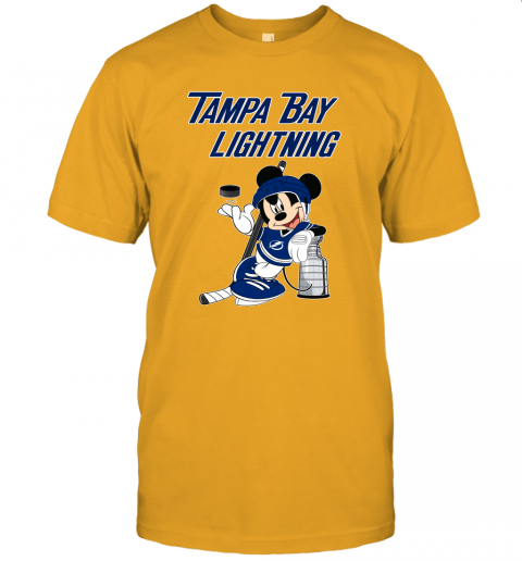 rcnl mickey tampa bay lightning with the stanley cup hockey nhl jersey t shirt 60 front gold