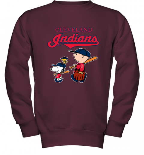 Cleveland Indians Let's Play Baseball Together Snoopy MLB Youth Sweatshirt