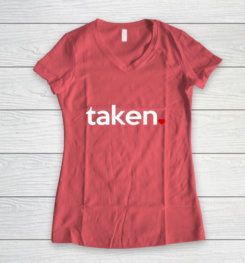 Taken Sorry I m Taken Gift for Valentine 2021 Couples Women's V-Neck T-Shirt 4