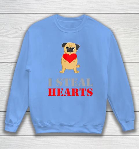 Pug Dog Valentine Shirt I Steal Hearts Sweatshirt 8