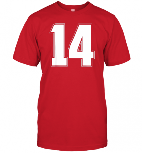6114 halloween group costume 14 sport jersey number 14 14th bday jersey t shirt 60 front red