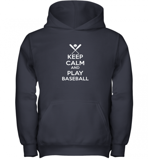 oisq keep calm and play baseball youth hoodie 43 front navy