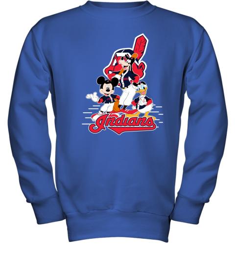 Cleveland Indians Mickey Donald And Goofy Baseball Youth Sweatshirt