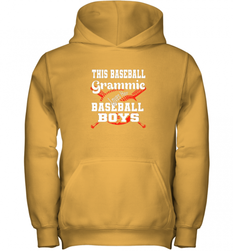 glpv this baseball grammie loves her baseball boys youth hoodie 43 front gold