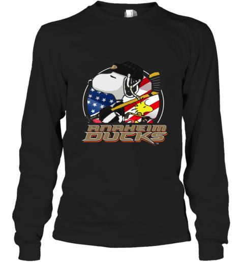 Anaheim Ducks  Snoopy And Woodstock NHL Long Sleeve T-Shirt