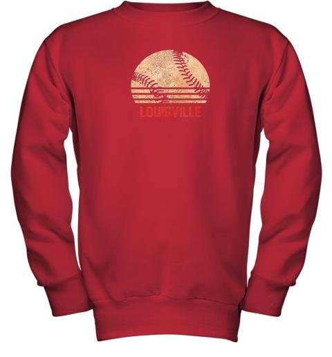pl13 vintage baseball louisville shirt cool softball gift youth sweatshirt 47 front red