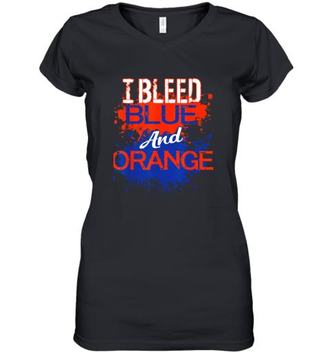I Bleed Blue And Orange Fan Shirt Football Soccer Baseball Women's V-Neck T-Shirt