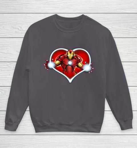 Marvel Iron Man Heart Blaster Glow Valentine Graphic Youth Sweatshirt 5