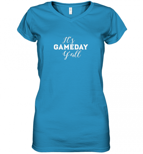 pyay it39 s game day y39 all football baseball basketball women v neck t shirt 39 front sapphire