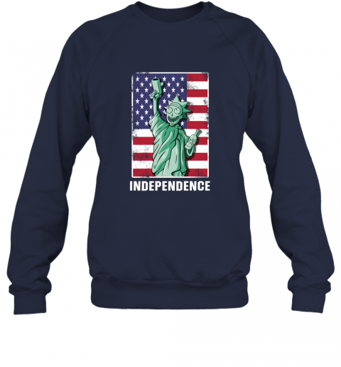 rnpr rick and morty statue of liberty independence day 4th of july shirts sweatshirt 35 front navy