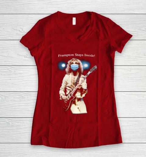 Peter Frampton Covid Stays Inside Women's V-Neck T-Shirt 8