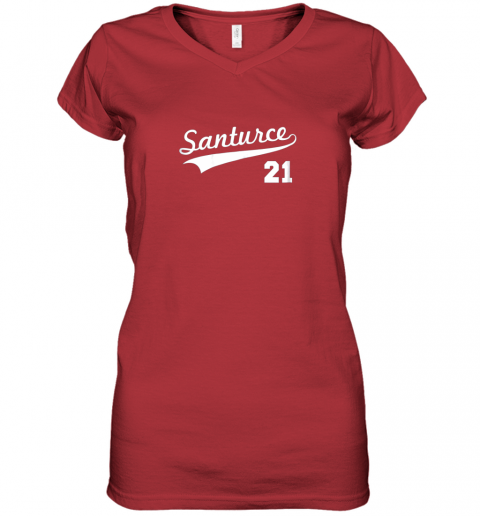mxgk vintage santurce 21 puerto rico baseball women v neck t shirt 39 front red