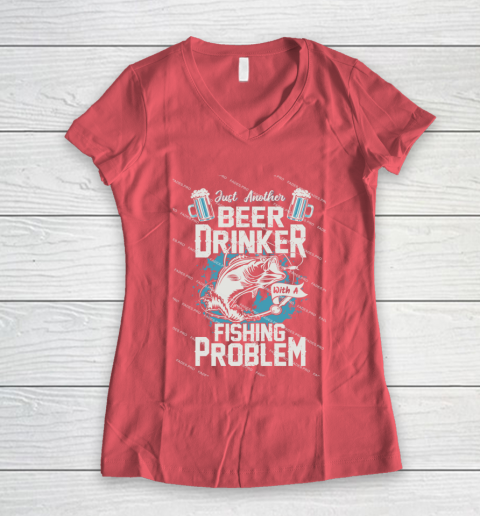 Beer Lover Funny Shirt Fishing ANd Beer Women's V-Neck T-Shirt 4