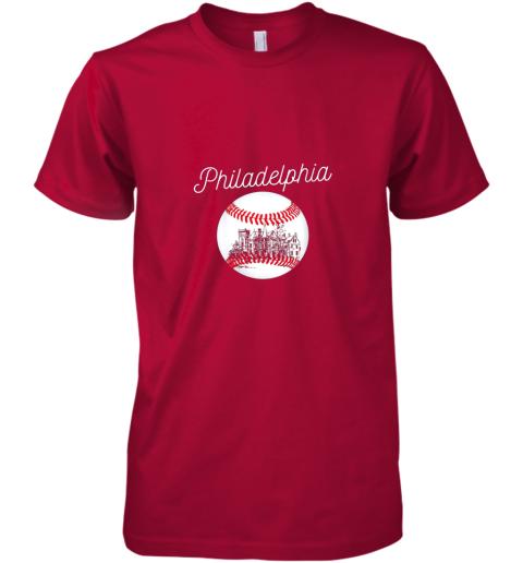 pttx philadelphia baseball philly tshirt ball and skyline design premium guys tee 5 front red