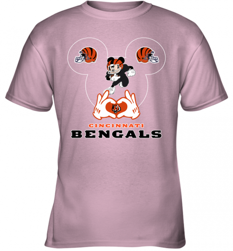 huqs i love the bengals mickey mouse cincinnati bengals youth t shirt 26 front light pink