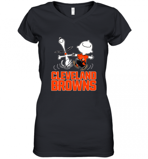 Snoopy And Charlie Brown Happy Cleveland Browns Fans Women's V-Neck T-Shirt