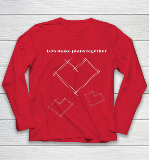 Valentine Architect T Shirt Heart Architecture Student Youth Long Sleeve 8