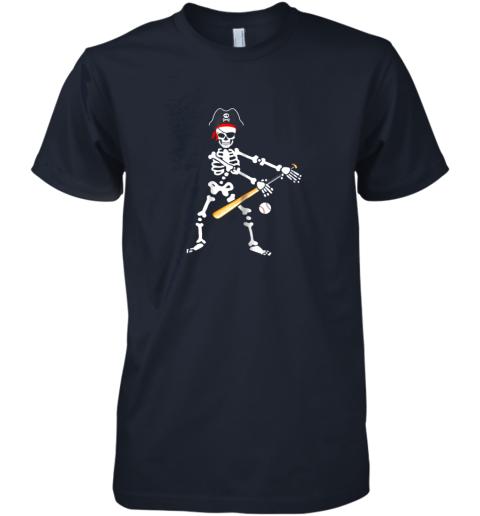 iq5u skeleton pirate floss dance with baseball shirt halloween premium guys tee 5 front midnight navy