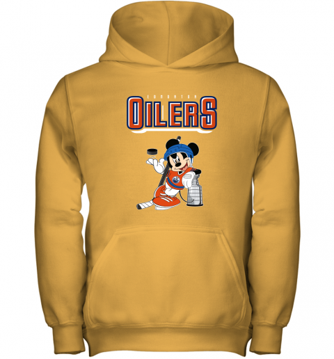 stsk mickey edmonton oilers with the stanley cup hockey nhl shirt youth hoodie 43 front gold