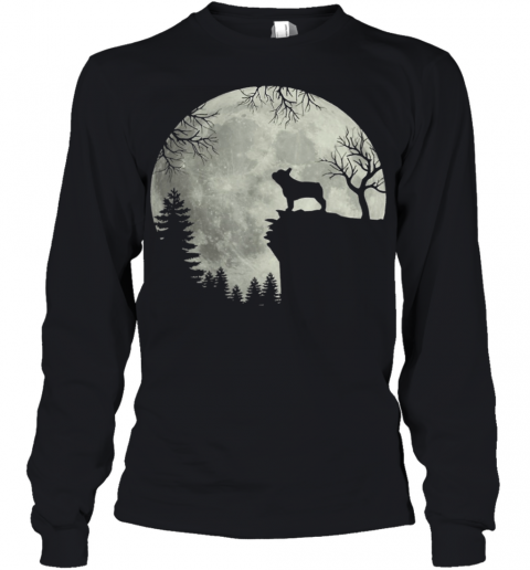 Frenchie dog moon howl in forest Halloween dog Frenchie Youth Long Sleeve