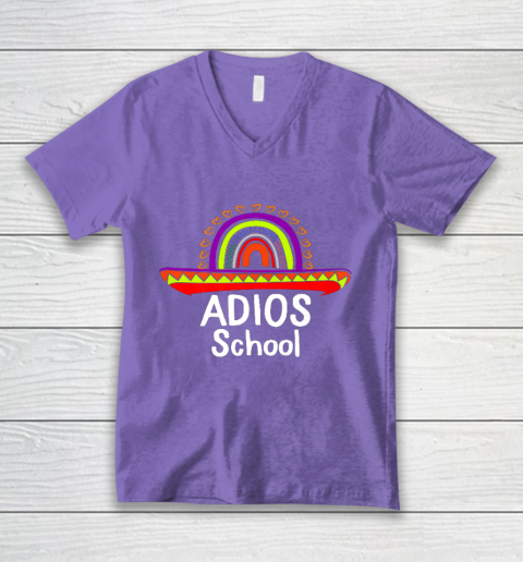 Adios School Happy Last Day Of School 2021 Teacher Mexican V-Neck T-Shirt 8