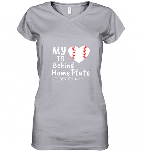 nfyv womens my heart is behind home plate baseball bat mom dad gift women v neck t shirt 39 front sport grey