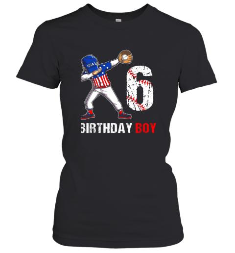 Kids 6 Years Old 6th Birthday Baseball Dabbing Shirt Gift Party Women's T-Shirt