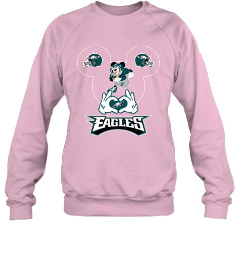 msjg i love the eagles mickey mouse philadelphia eagles sweatshirt 35 front light pink