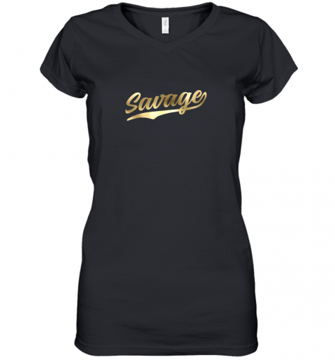 Savage Shirt Retro 1970s Baseball Script Font Women's V-Neck T-Shirt