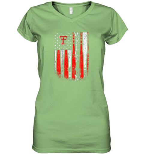sqwq texas tech red raiders baseball flag team name women v neck t shirt 39 front lime
