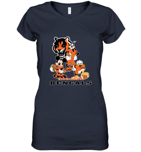 so4p mickey donald goofy the three cincinnati bengals football shirts women v neck t shirt 39 front navy