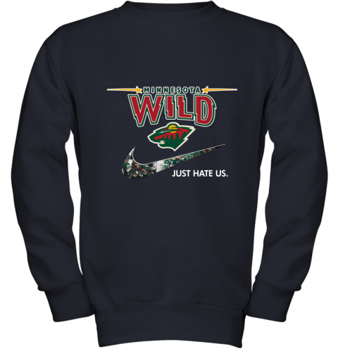 NHL Team Minnesota Wild x Nike Just Hate Us Hockey Youth Sweatshirt