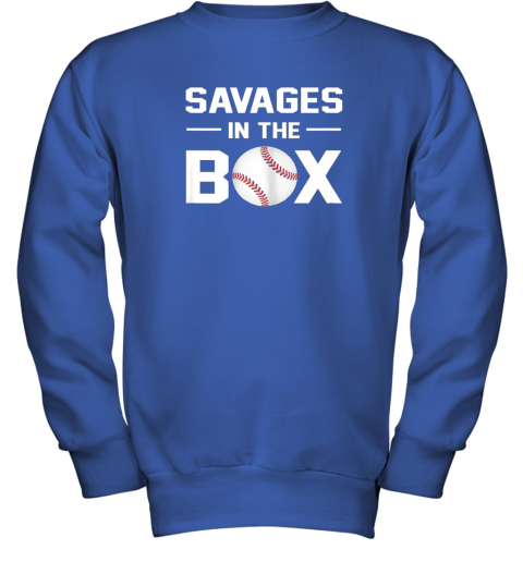 ycpr savages in the box shirt baseball gift youth sweatshirt 47 front royal