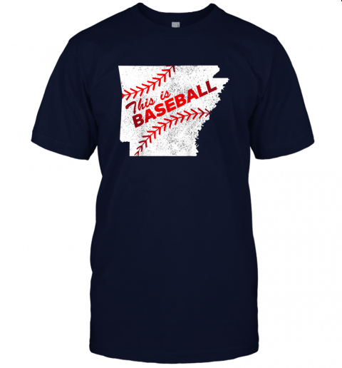 ks3o this is baseball arkansas with red laces jersey t shirt 60 front navy