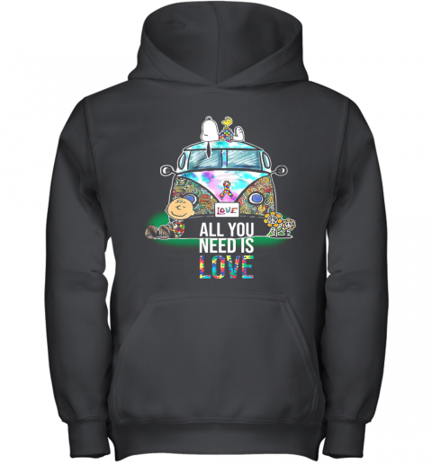 Hippie Bus Snoopy And Charlie Brown All You Need Is Love Autism Cancer Awareness Youth Hoodie