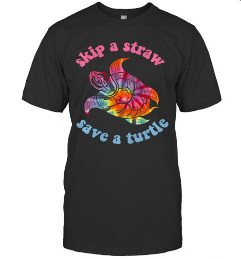 Skip A Straw Save A Turtle Tribal Retro 90's Aesthetic Long Sleeve T-Shirt