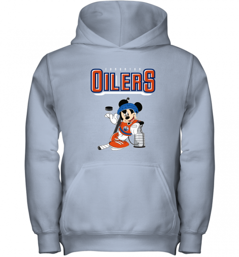 stsk mickey edmonton oilers with the stanley cup hockey nhl shirt youth hoodie 43 front light pink